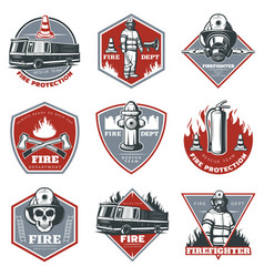 Vintage firefighting labels set vector
