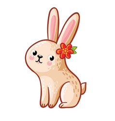 Hare with flower vector
