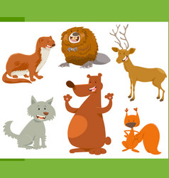 Funny wild animal characters set vector