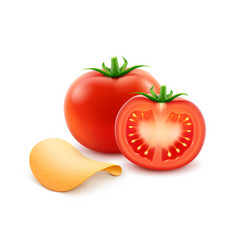 Potato crispy chips with red tomato vector