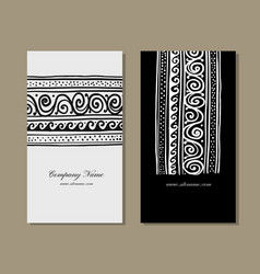 Business cards design ethnic handmade ornament vector