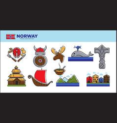 Norway travel landmark symbols or norwegian vector