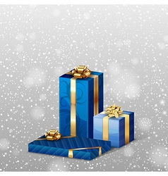 Christmas gifts with falling snow blue vector