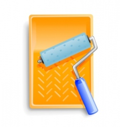 bath with painter roller vector image