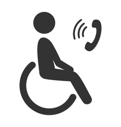 Disability man pictogram flat icon phone isolated vector