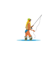 Woman Holding a Fishing Rod sign vector image