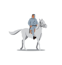 Arab sheikhs on a white horse sign vector