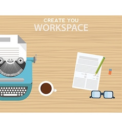 Workspace with typewriter coffee mug notes and vector