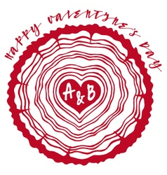 Tree rings with red heart vector