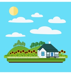 Village landscape with house trees and sunflowers vector