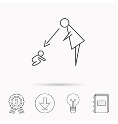 Under nanny supervision icon babysitting sign vector