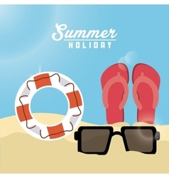 Summer design sandals float and glasses icon vector image