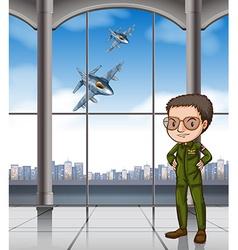 Airforce pilot at base vector