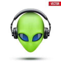 Alien head with headphones vector