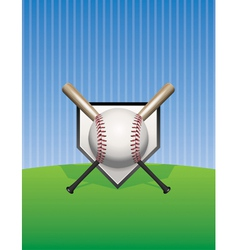 Baseball and bats on pinstripes vector