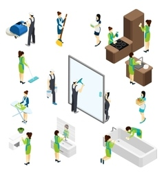 Big cleaning isometric pictograms composition vector