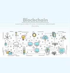 Blockchain technology advertising vector