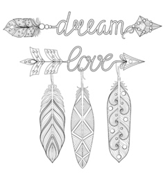 Bohemian Dream love Arrows set with feathers for vector image vector image