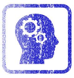 Brain gears framed textured icon vector