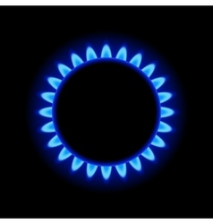 Burner gas ring with blue flame on dark background vector