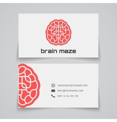 Business card template Brain maze concept logo vector image