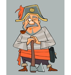 Cartoon man in clothes of pirate with an ax vector