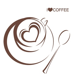 Coffee 4 Coffee cup with plate and spoon vector image