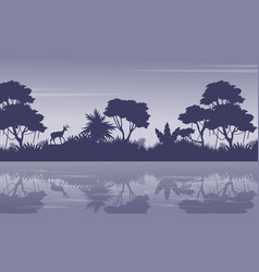 Collection jungle scenery with tree silhouettes vector