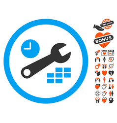 Date and time configuration icon with lovely bonus vector