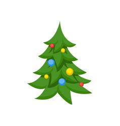 decorated christmas tree cartoon vector image vector image