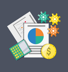 Documents calculator and coins investment concept vector