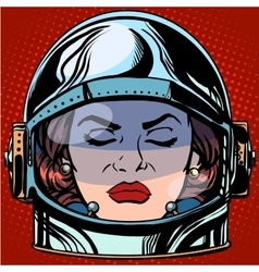 Emoticon anger emoji face woman astronaut retro vector