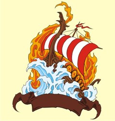 fire ship vector image