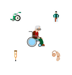 Flat icon disabled set of stand injured vector