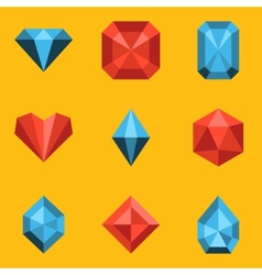 Flat icon set Diamond vector image