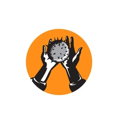Hand holding ball with spikes circle woodcut vector