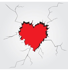 Hole in heart shape on the wall vector image vector image