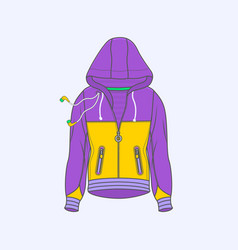 hoodie for men symbol simple line icon on vector image