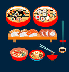 japanese food japanese dishes sushi set vector image