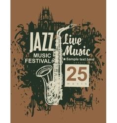 Jazz festival an saxophone vector