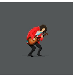 Pixel guitar player vector