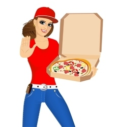 pizza delivery woman holding a hot pizza vector image vector image