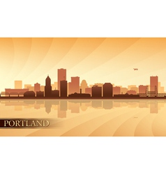 Portland city skyline silhouette background vector image vector image