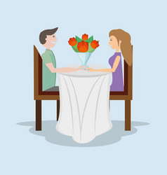 Romantic couple sitting table with bouquet flowers vector