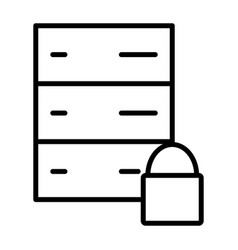 server lock network line icon minimal pictogram vector image