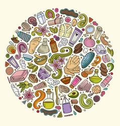 Set of massage salon doodle objects vector