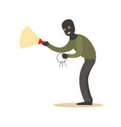thief in a black mask with master keys and vector image vector image