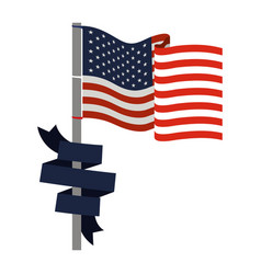 United states flag with dark blue ribbon in pole vector