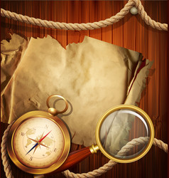 Vintage background with compass magnifying glass vector