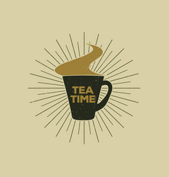 Vintage emblem of tea mug with steam suitable for vector